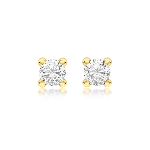 9ct Yellow Gold 4mm April Birthstone Stud Earrings