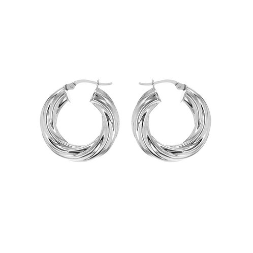 Sterling Silver 27mm / 6mm Wide Twisted Hoops