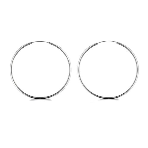 Sterling Silver 70mm Square Tube Hoop Earrings
