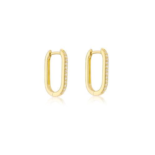 9ct Yellow Gold Estée Stone Set Long Luxury Huggies