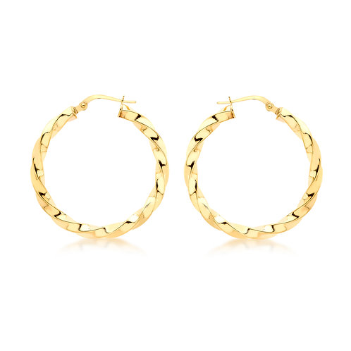 9ct Yellow Gold 30mm Twisted Hoop Earrings