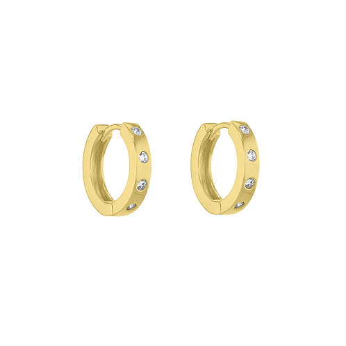 Yellow Gold Vermeil 14mm Inset Four Stone Huggies