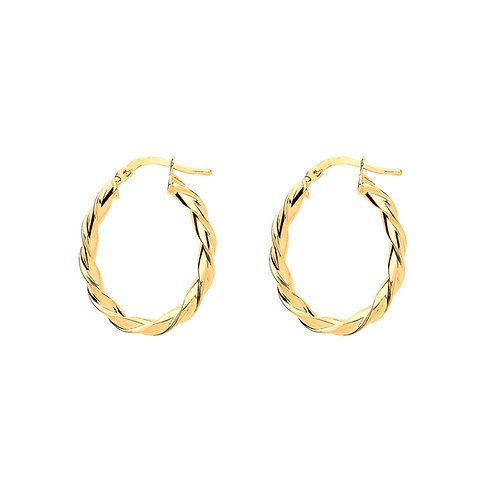 Yellow Gold Vermeil Oval Twist Hoops
