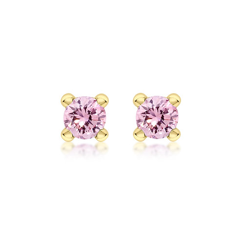 9ct Yellow Gold 4mm October Birthstone Stud Earrings