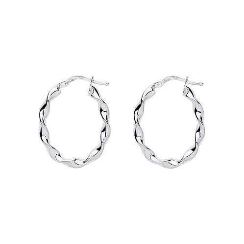 Sterling Silver Oval Twist Hoops