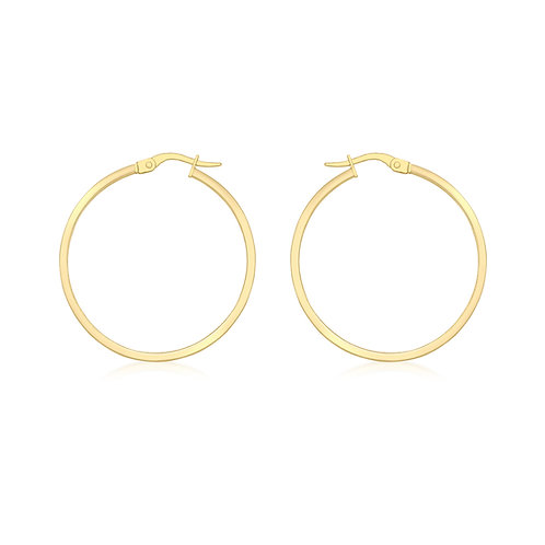 18ct Yellow Gold Luxury 30mm / 3mm Hoops