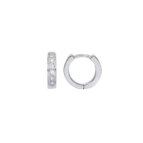 Sterling Silver 11mm Stone Set Hoops