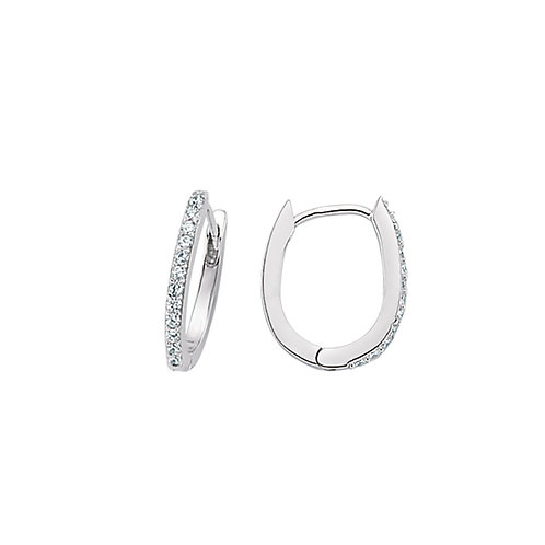 Sterling Silver 15mm Oval Stone Set Hoops