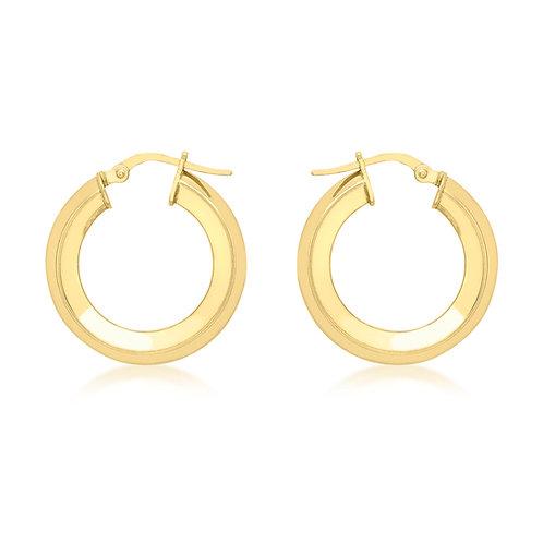 9ct Yellow Square Tube 22mm Hoop Earrings