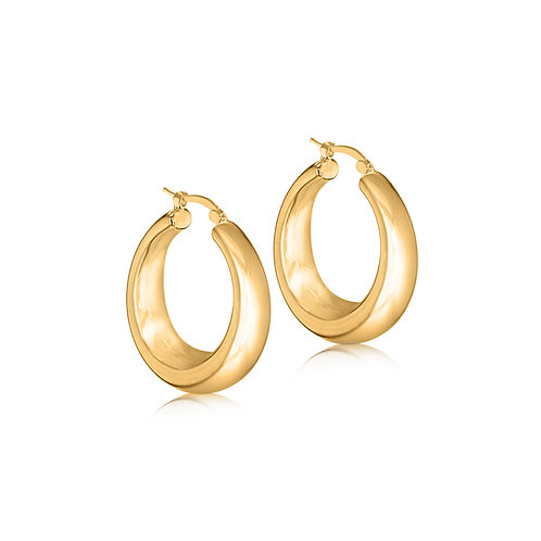 Gold Vermeil 30mm x 10mm Thick Graduated Hoops