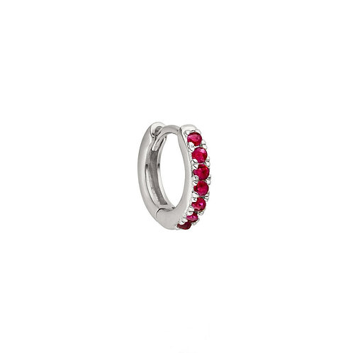 Sterling Silver 10mm Ruby Huggies Hoop Earring