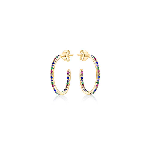 Gold Vermeil 23mm Coloured CZ Hoops