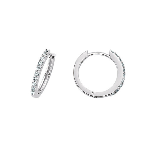 Sterling Silver 15mm Stone Set Hoops