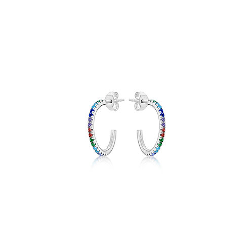 Silver 16mm Coloured CZ Hoops