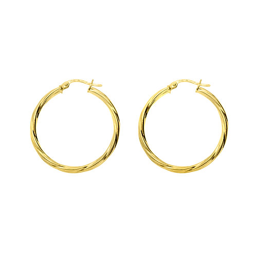 9ct Yellow Gold 30mm Classic Twist Hoops