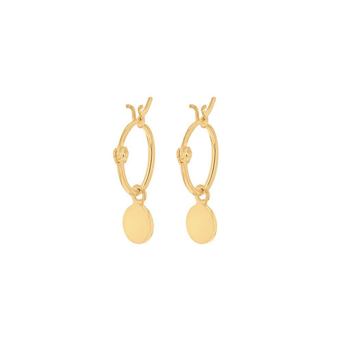 Yellow Gold Vermeil Disc Drop Earrings