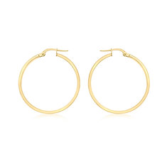 9ct Yellow Gold 25mm Thin Creole Earrings