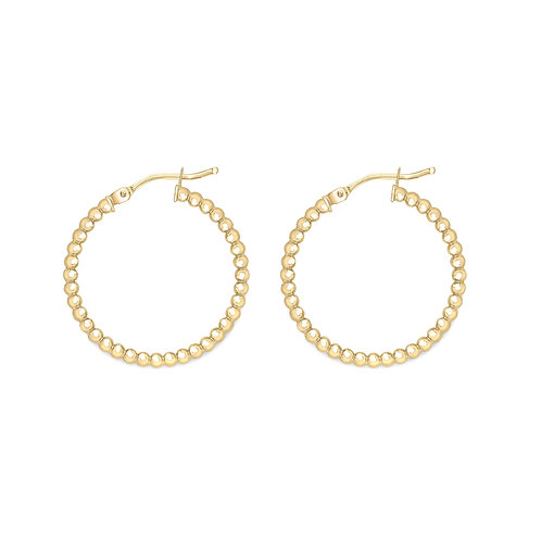 9ct Yellow Gold 20mm Beaded Hoops