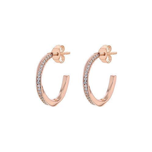 Rose Gold Vermeil Stone Set Twist Hoops