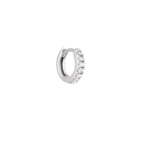 Baby 9mm Sterling Silver Stone Set Clicker Hoop