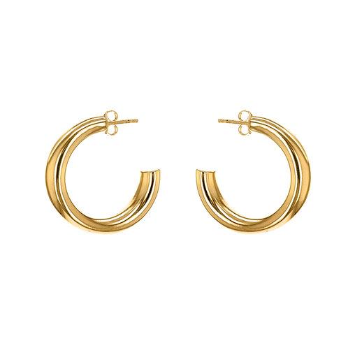 Gold Vermeil 27.5mm x 7mm Thick Tube Hoop Earrings