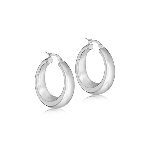 Silver 30mm x 10mm Thick Graduated Hoops
