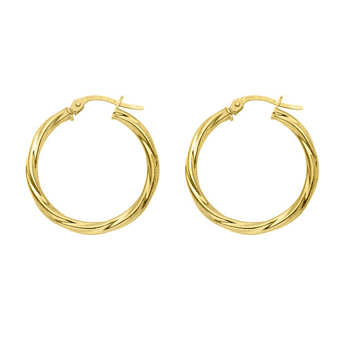 9ct Yellow Gold 24mm Classic Twist Hoops