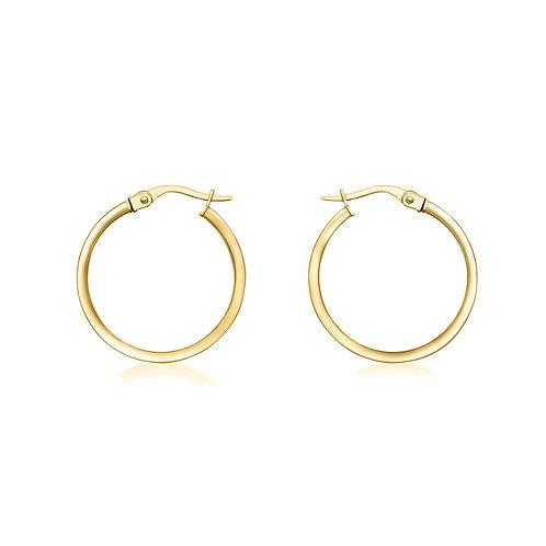 9ct Yellow Gold Thin 19mm Hoop Earrings