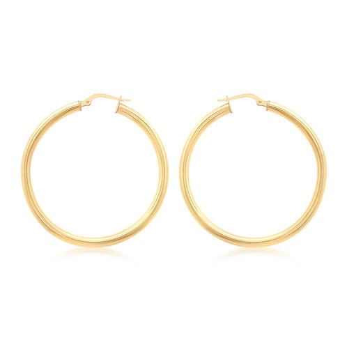 9ct Yellow Gold 40mm / 3mm Creole Earrings