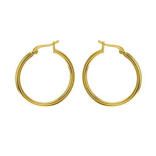 Yellow Gold Vermeil 30mm Plain Hoop Earrings