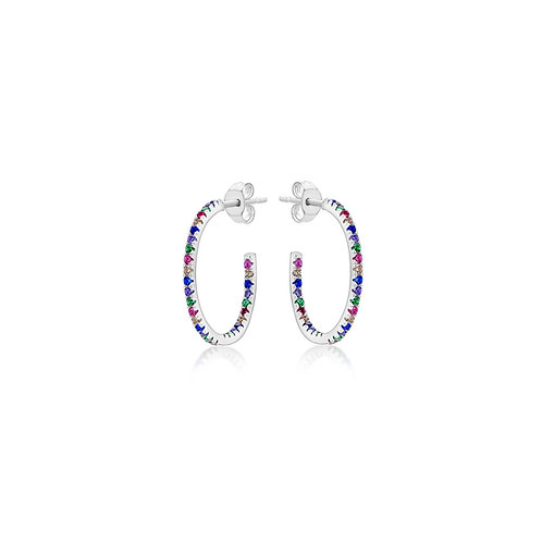 Silver 23mm Coloured CZ Hoops