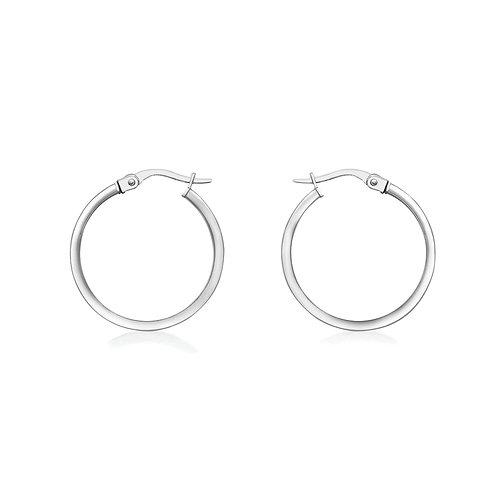 9ct White Gold Thin 19mm Hoop Earrings