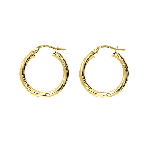 9ct Yellow Gold 20mm Classic Twist Hoops