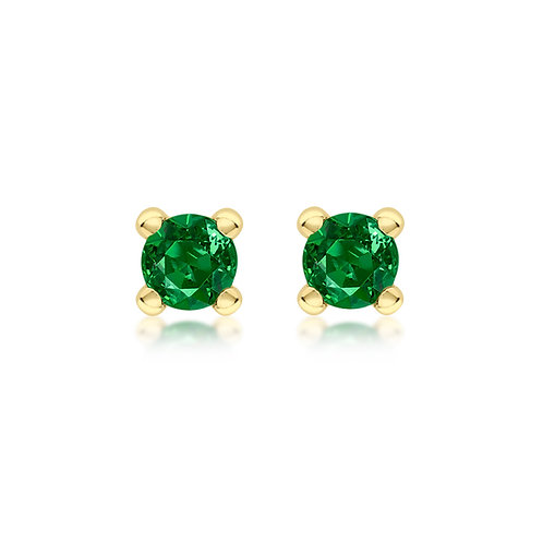 9ct Yellow Gold 4mm May Birthstone Stud Earrings