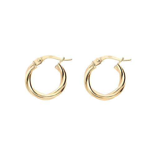 9ct Yellow Gold 16mm Classic Twist Hoops
