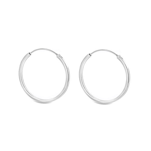 Sterling Silver 30mm Square Tube Hoops