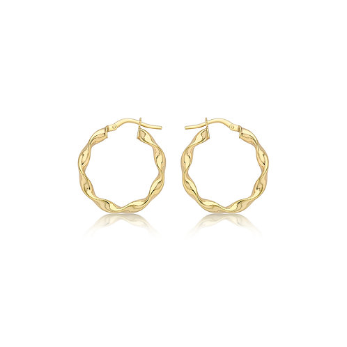 9ct Yellow Gold Twisted Creole Hoops