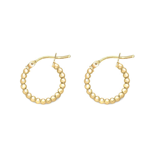 9ct Yellow Gold 16mm Beaded Hoops