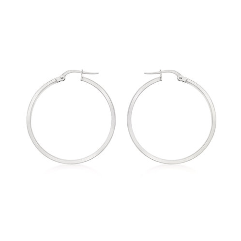 9ct White Gold 30mm Thin Creole Earrings