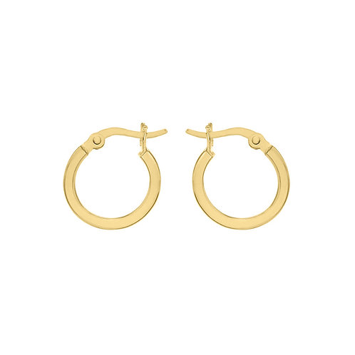 Yellow Gold Vermeil 15mm Square Tube Hoops