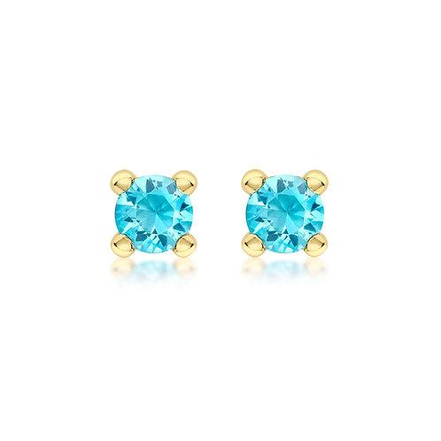 9ct Yellow Gold 4mm December Birthstone Stud Earrings