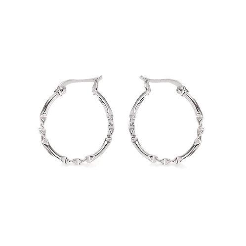 Sterling Silver 20mm Patterned Hoop Earrings