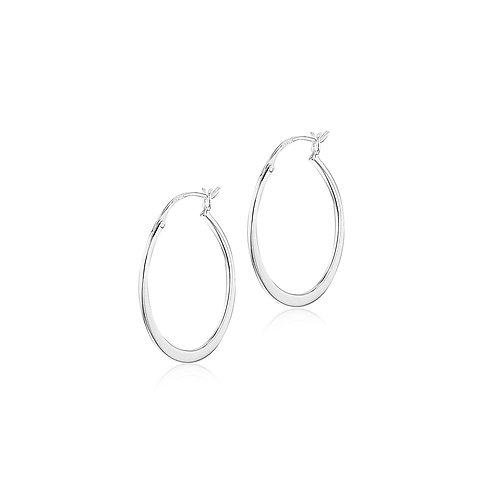 Sterling Silver Graduated Oval 30mm Creole Hoops