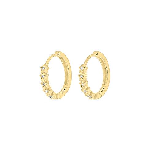 Gold Vermeil Stars Huggie Hoop Earrings