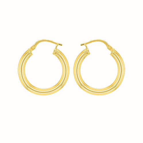 9ct Yellow Gold Round 20mm / 3mm Hoops