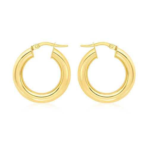 9ct Yellow Gold Round 22mm / 4mm Hoops