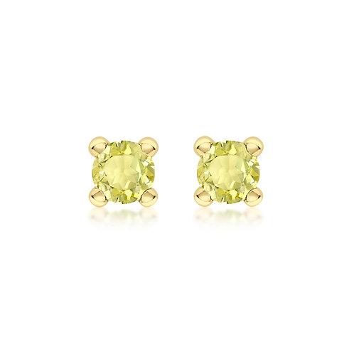 9ct Yellow Gold 4mm November Birthstone Stud Earrings