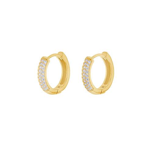 Gold Vermeil 13mm Stone Set Huggies Hoops
