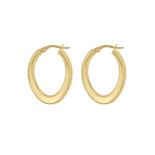 18ct Yellow Gold Luxury Oval Twist Creole Hoops