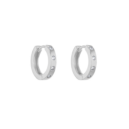 Silver 14mm Inset Four Stone Huggies